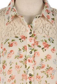 Lace Yoke Sleeveless Floral Print Blouse in Peach