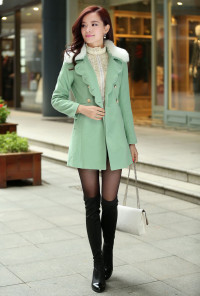 Fur Collar Double Breasted Swing Coat in Mint Green