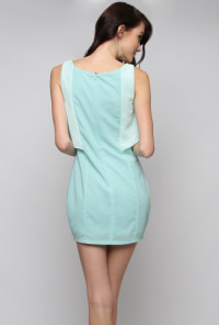 Contrast Ruffle Sleeveless Shift Dress in Light Blue
