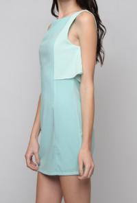 Contrast Ruffle Sleeveless Shift Dress in Light BlueContrast Ruffle Sleeveless Shift Dress in Light Blue
