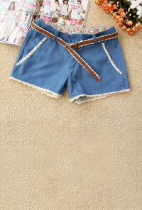 Lace Trim Shorts in Blueberry