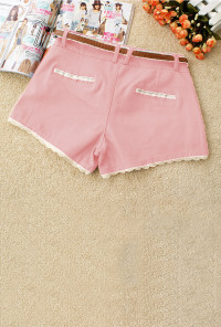 pink Lace Trim Shorts