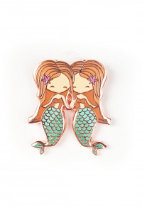 Zodiac Mermaid Enamel Pin - Gemini