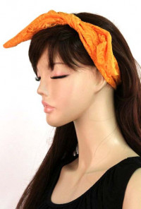 Head Piece - Retro Bliss Lace Wired Headband Tangerine