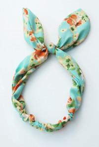 Head Piece - Retro Bliss Floral Print Wired Headband Mint