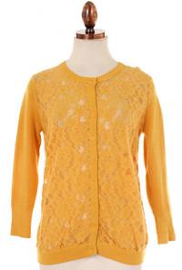 mustard lace cardigan