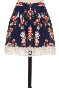 Navy Crochet Trim Floral Skater Skirt