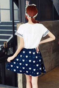 Glamour Cat Print Short Sleeve Swing cute Dress