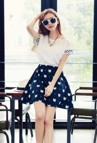 Cat Print Short Sleeve Swing Dress
