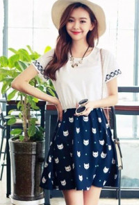 Cat Print cute Short Sleeve Swing Dress