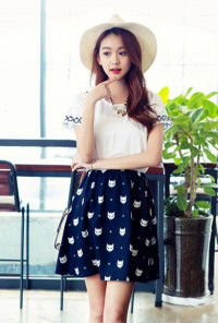 Cat Print Short Sleeve cute Swing Dress