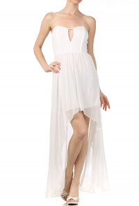 white Sweetheart Strapless High Low Dress