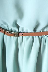 Belted One Shoulder Chiffon Dress