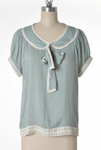 Blouse - Good Girl Charm Peter Pan Collar Tieneck Blouse by Comme Toi