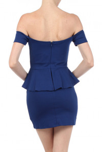 Blue Off the Shoulder Sweetheart Peplum Dress