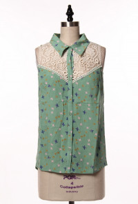 mint Bird Print Lace Yoke Sleeveless Blouse