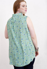 plus size mint Bird Print Lace Yoke Sleeveless Blouse