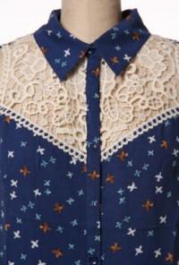 navy Bird Print Lace Yoke Sleeveless Blouse