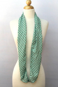 Scarf - Ties That Bind Circle & Flower Print Mint Green Scarf