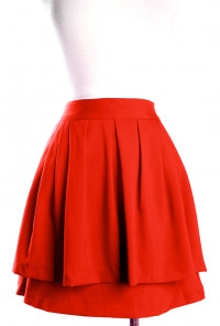 Double Layered Pleat Skirt in Rust