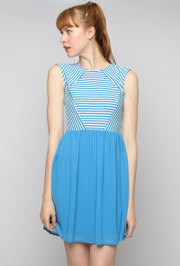 Stripe and Solid Sleeveless Dress in Blue