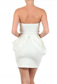 white Sweetheart Scuba Peplum Dress