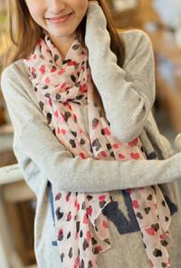Pink Scarf - Airy Romance Heart Pattern Chiffon Scarf in