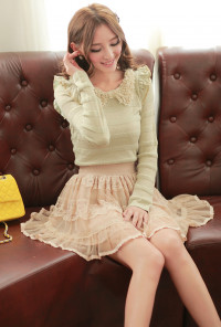 Lace A-line Tiered Mesh Skirt in Nude Pink