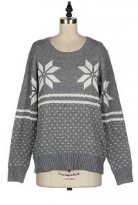 Snowflake Print grey Knit Sweater