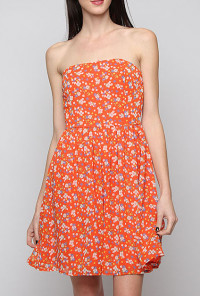 Home Grown Floral Print Straples Strapless Skater Dress in Orange Blossom