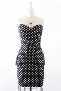 Polka Dot Peplum Dress