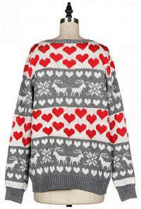 Heart Nordic Print Grey Knit Sweater