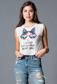 Cat Print Sleeveless Graphic Crop tee