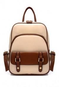 Backpack - Letterpress Era Vintage Preppy Two Toned Multi-Compartment Beige Backpack