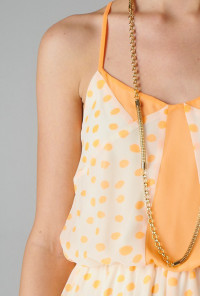 apricot Spaghetti Strap Dotted Dress