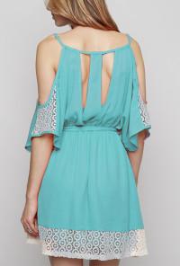 teal Lace Contrast Open Shoulder Dress