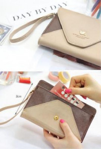 Wristlet - Love Letter Color Block Envelope Cell Phone Brown Beige Wallet Wristlet