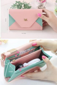 Cell Phone Mint Pink Wallet Wristlet