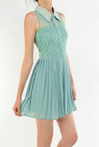 Sleeveless Lace Inset Pearl Collar Dress