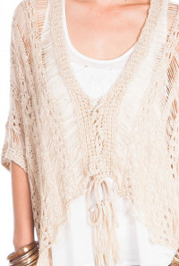 Beige Distressed Fringe Knit Sweater Top