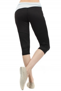 Meditation Session Contrast Waist Workout Capris with Perforated Slant Back in White