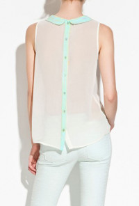 Peter Pan Collar Sheer Sleeveless Blouse