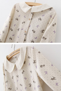 cat print peter pan collar blouse