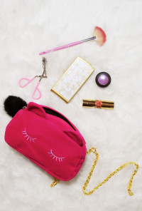 Kitty Velour Purse in Fuchsia