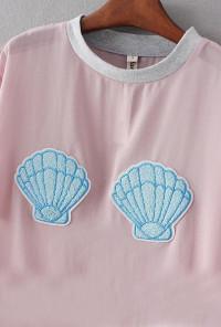 Mermaid Seashell Patch Mesh Crop Top