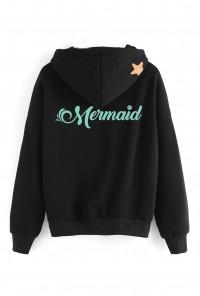 black mermaid hoodie back