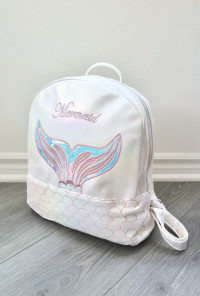 mermaid mini backpack pearl white