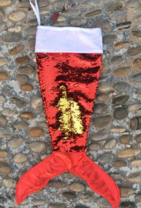 red sequin mermaid tail stocking