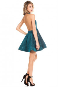 Mermaid Splendor Glittery Halter Dress in Sea Green