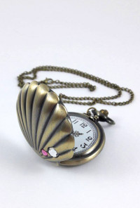 Seashell pocket watch necklace